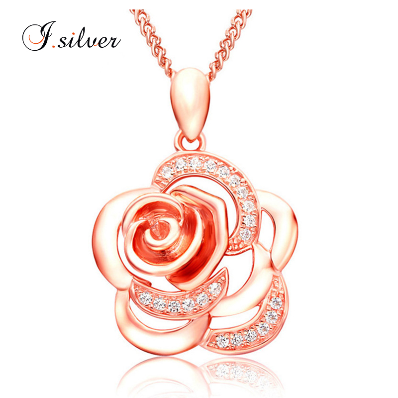<strong>fashion</strong> rose shape zircon silver pendant jewelry P20049