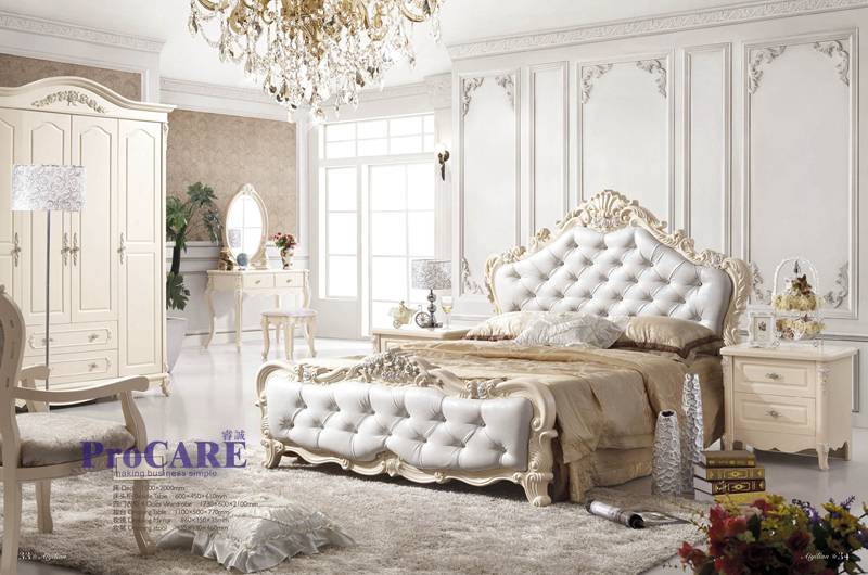 New design white color luxury classic bedroom set for European themed bedroom ideas