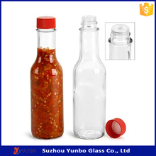 Woozy 5 oz Round Glass Bottle w/ Cap, Hot Sauce Bottle 150ml