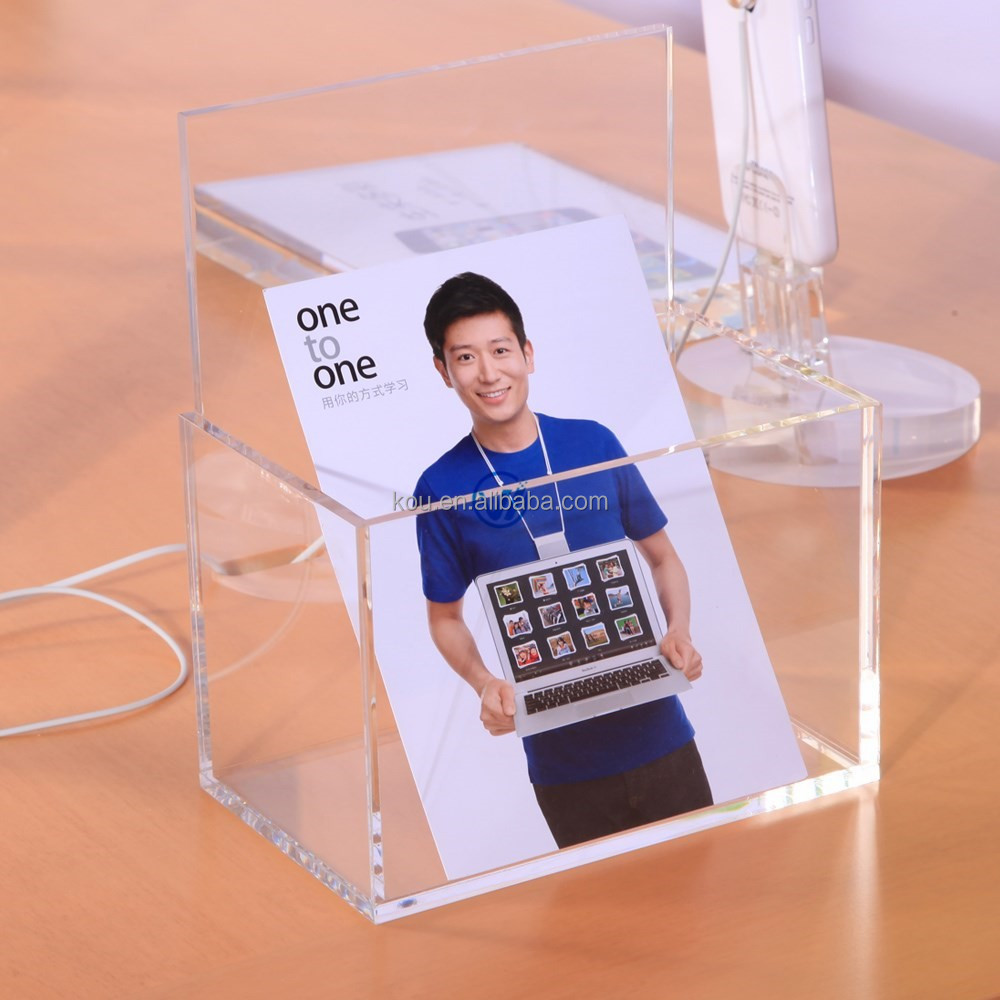 clear bucket shape date information acrylic put brochure display holder