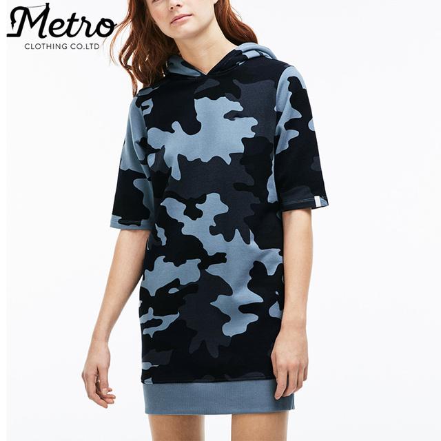 Custom woman print cotton camouflage hooded sweatshirts dress