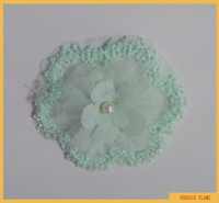 Fresh green organza fabric flower trim beaded with ivory rocailles points FLP-007