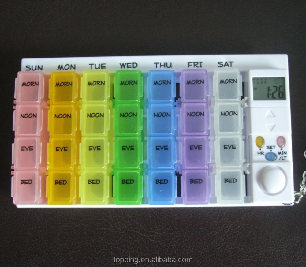 colorful weekly pill reminder with 7 days 28 cmpartments dispenser