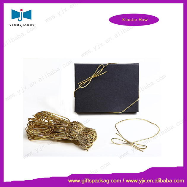 Elastic gift packing bow/gold elastic cord loop
