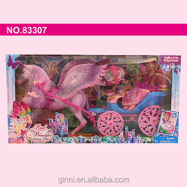83307 ginni hot new products for 2015 baby toys fashion dress horse carriage Princess Fashion barbie doll