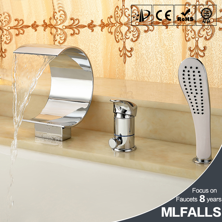 European chromed waterfall bathroom bath tub faucet ceramic valve 3 pcs deck mount shower set