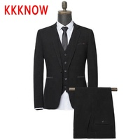 KKKNOW2019 spring new Korean version slim groom dress wedding suit three piece men s suit