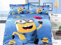 hot sale disposable full size cartoon duvet cover set kids Minions bed sheet set