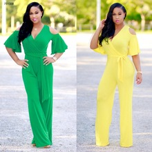 African women clothes flouncing sleeve bodycon jumpsuits rompers fashion dresses