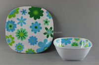 Square Melamine Dinner Set/Plastic Square Salad Bowl And Square Plate