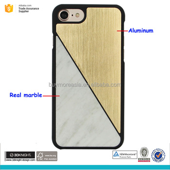 Natural marble and aluminum hard phone case for iphone 7 case marble