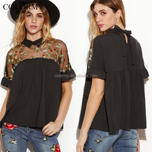 New arrival casual short sleeve black embroidered lady chiffon blouse designs