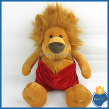 32cm large feet brown sitting lion with red fashionable shorts