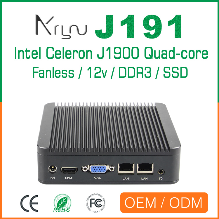 quad core J1900 industrial fanless mini pc rs232 COM and 2 Lan
