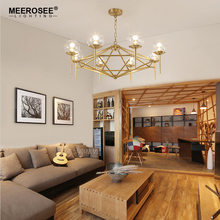 MEEROSEE Modern Iron Pendant Chandelier Lamp Glass Ball Candle Gold Lustre Lights For Restaurant Decorative Lighting MD85505