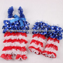 2014 wholesale baby clothes Patriotic girls 4th of july Leg warmers and baby rompers