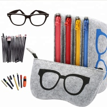 Portable Zipper Eyeglasses pouch Felt Eyewear case Sunglasses case bag pouch Felt glasses case bag pouch