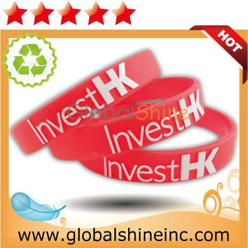 red colour filled silicone wristbands