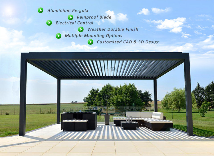 Waterproof Motorized Louver Roof Aluminum Pergola With LED Lights
