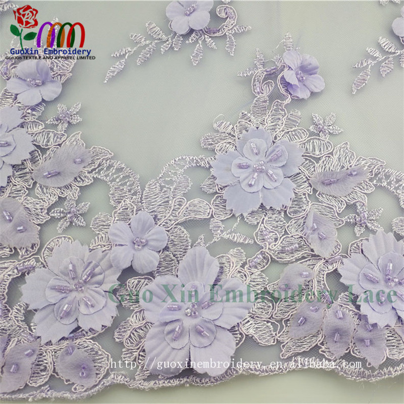 Fashion chemical guangzhou mesh style 3D lace fabric beaded tulle lace