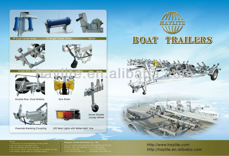 rubber roller Double axle boat trailer for sale