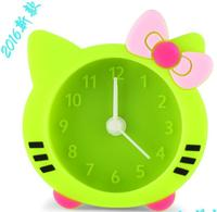 2016 Hot Sale Artistic Design Novelty New Kid's Lovely Portable Silicone cat shape Mini Desk Clock