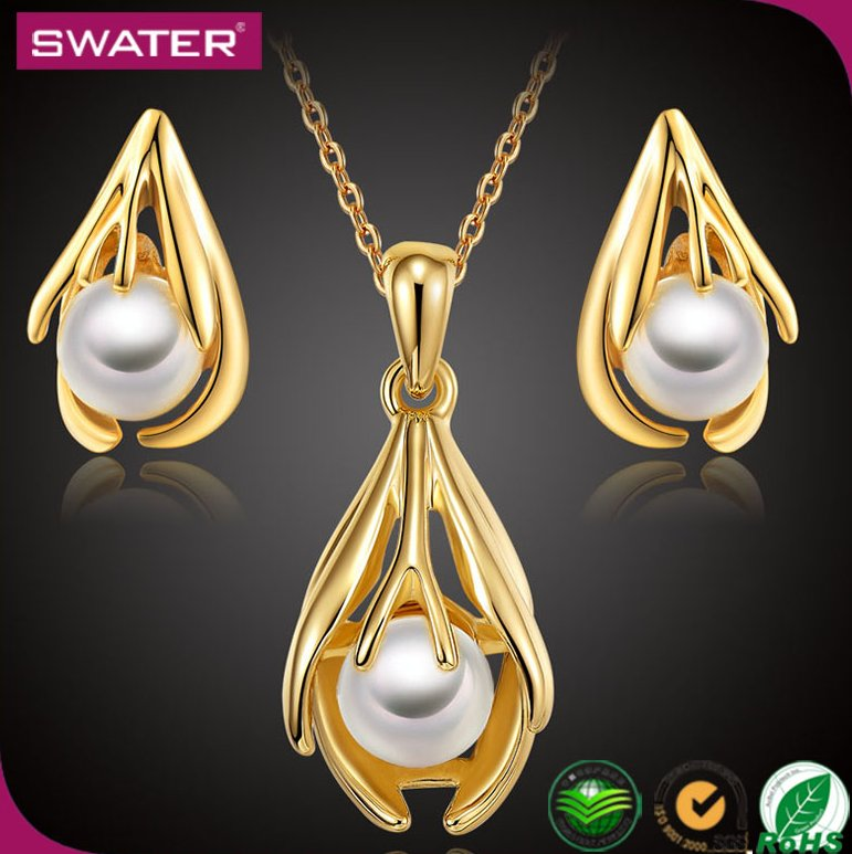 Costume Fashion Jewelry 2016 Designs Dubai Women Wedding Pearl African 18K Plated Italian Gold Jewelry Sets