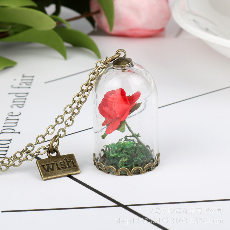 Online Shop China Beautiful Real Glass Bottle  Colorful Necklace Rose Necklace