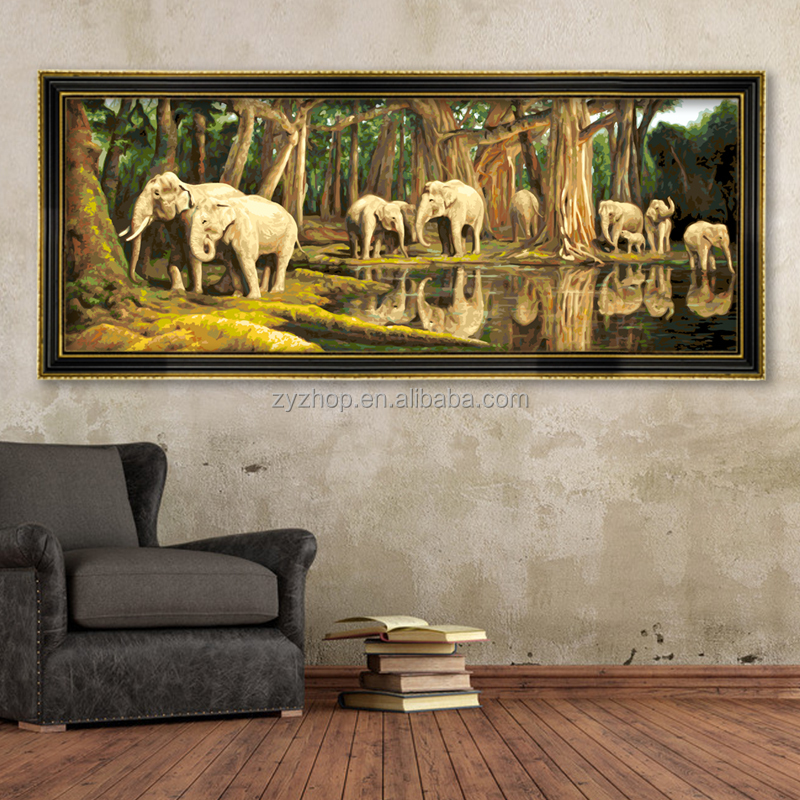 Elephant animal pop art oil painting no frame oil painting by numbers
