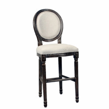 Antique White Color French Style with Long Leg Round Back Fabric Wooden Dining Chair