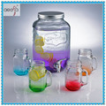 Mixed Color Set Group Glass Jar with Tap Glass Beverage Dispenser