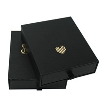 Wholesale Gold Stamping Black Gift Box Paperboard Packaging Gift Box, Printing Custom 3 Sided Drawer Jewelry Box