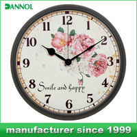 12 hours display design clock wall/ quartz analog type plastic wall clock 12""