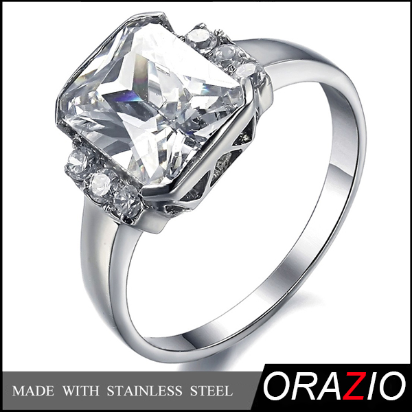 Orazio Jewelry-Fashion Womens Stainless Steel Diamond Ring, Cheap Big Stone Engagement Wedding Rings