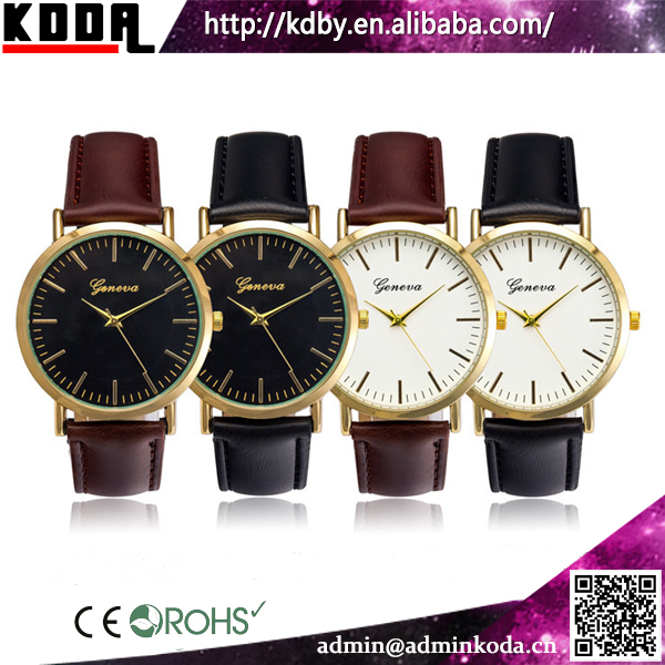2016 New Design Leather Strap Cheap Wholesale Geneva Watches