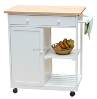 MDF kitchen trolley with rubber wood top