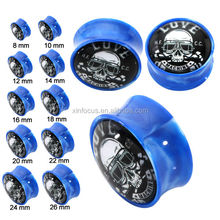 Acrylic different skull ear plugs high quality piercing body jewelry with factory price