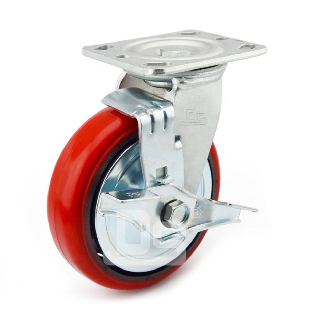 Industrial Platform Trolley Cast Iron PU Heavy Duty Castor Caster <strong>Wheels</strong> with side brake