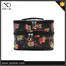 2017 Satin professional makeup case wholesale made in China beautiful cosmetic case