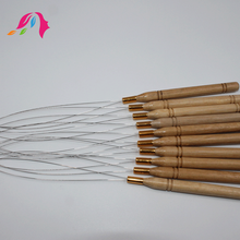 hair extensions tools wooden latch hook needle, hair weaving needle