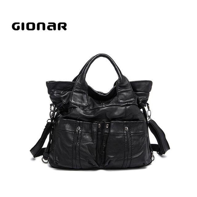 Online Wholesale Large Soft Black Goat Leather Women Handbag