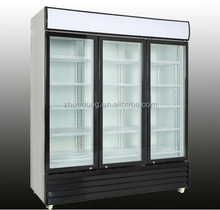 1000L Standing commercial swing glass doors display fridge with lock key