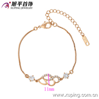 Expandable sexy charm bracelet in rose gold plated hanging jewelry