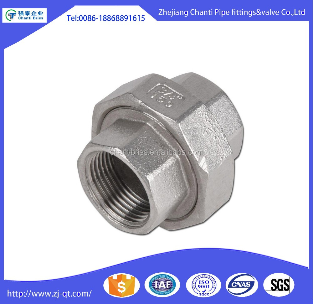 SS304 SS316l Stainless Steel Pipe Fitting NPT Union Coupling