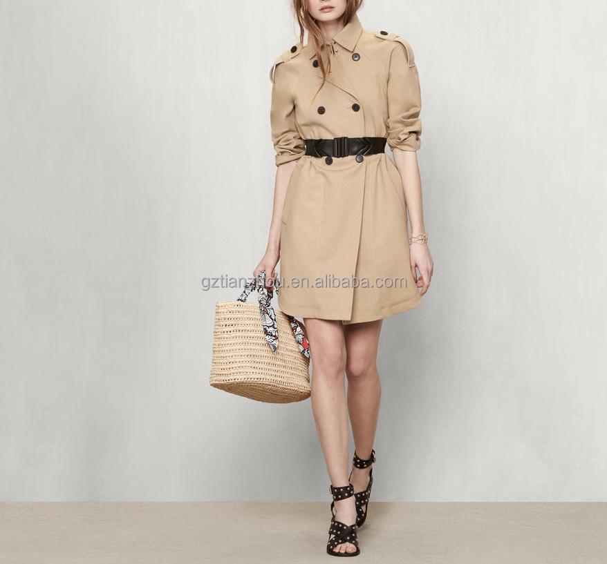 China guangzhou clothing OEM turn-down collar button shoulder tabs long sleeves Trench coat with drawstring at the waist