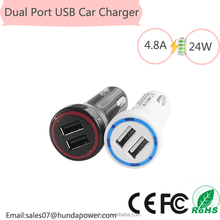 Alibaba express Intelligent 4.8A / 24W Plastic Dual USB Car Charger With Smart Sharing IC for Each USB Port-Tarnish