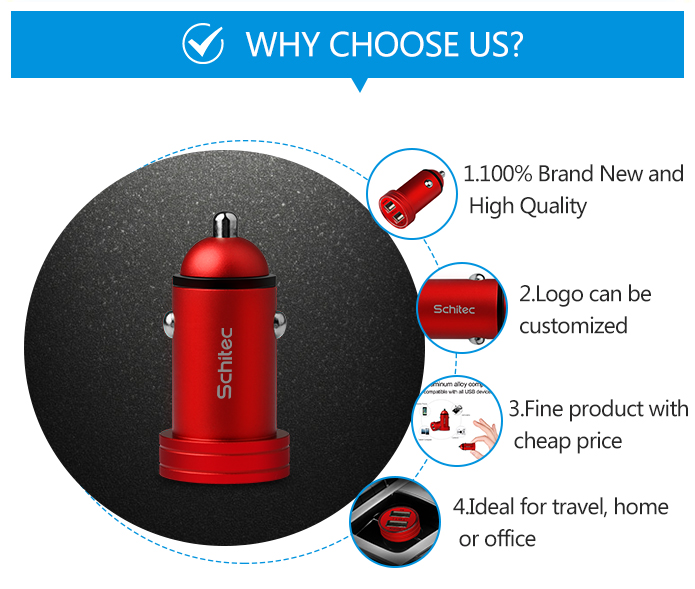 New Aluminum alloy 2.4A double usb car charger for Android
