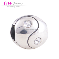 Wholesale Yinyang Sterling Silver Bead With Clear Stones