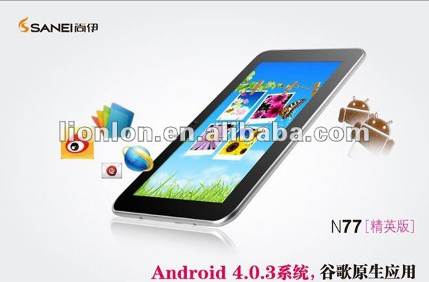 "Original Sanei N77 Tablet PC Elite 7"" Android 4.0 Allwinner A10,512MB Ram 8GB Nand ,WIFI,Camera"