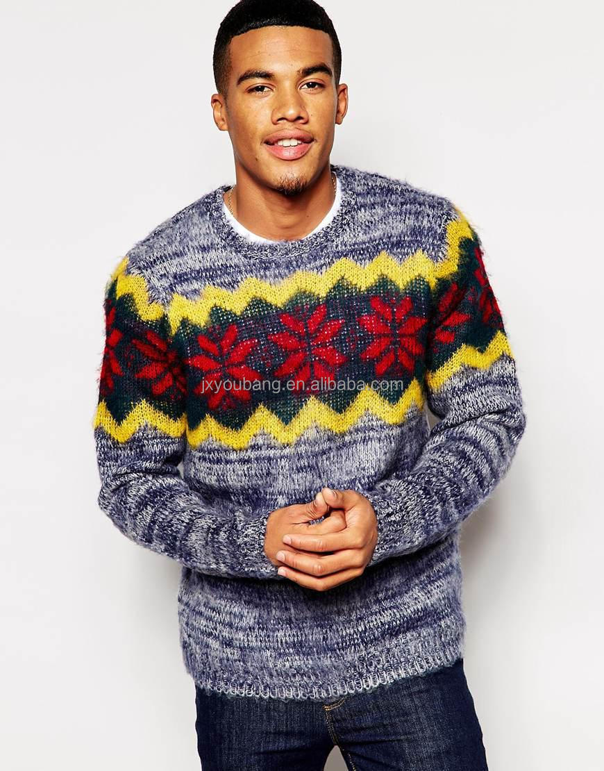 melange color latest design jacquard knitwear with round neck for men's christmas holiday sweater